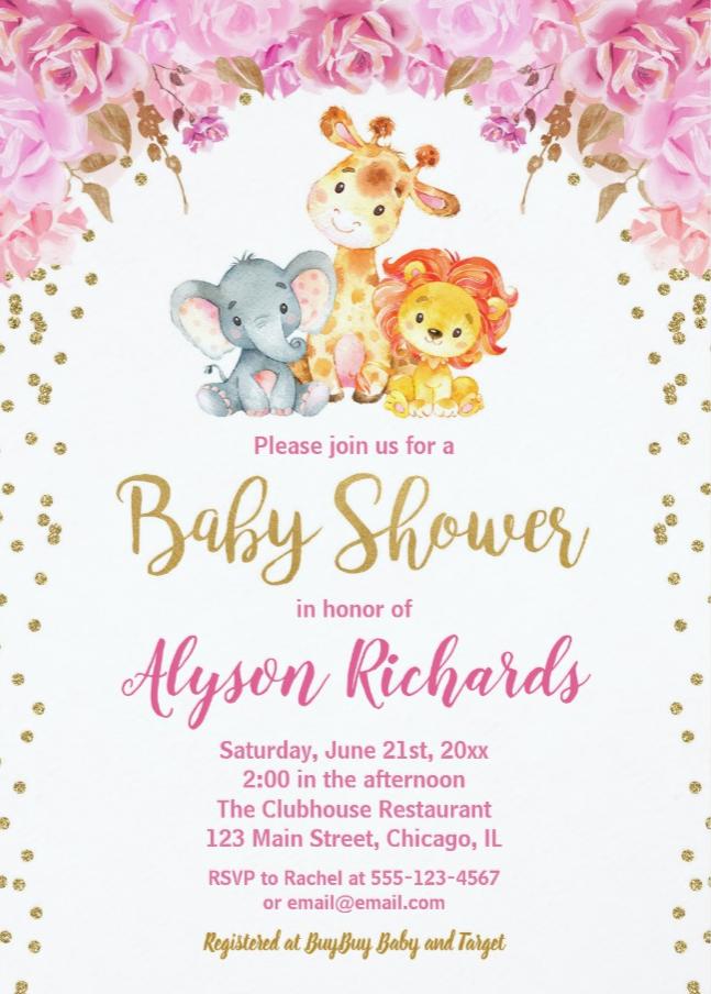 Cute Safari Animals Baby Shower Invitation Zazzle Com