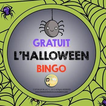 FREE French Halloween Bingo - français (gratuit) idees pour mes