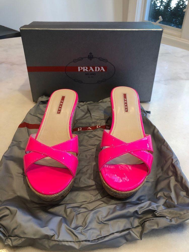78c5fa21593 Prada Neon Pink Patent Leather Cork Wedge Slide Size 38.5 #fashion ...
