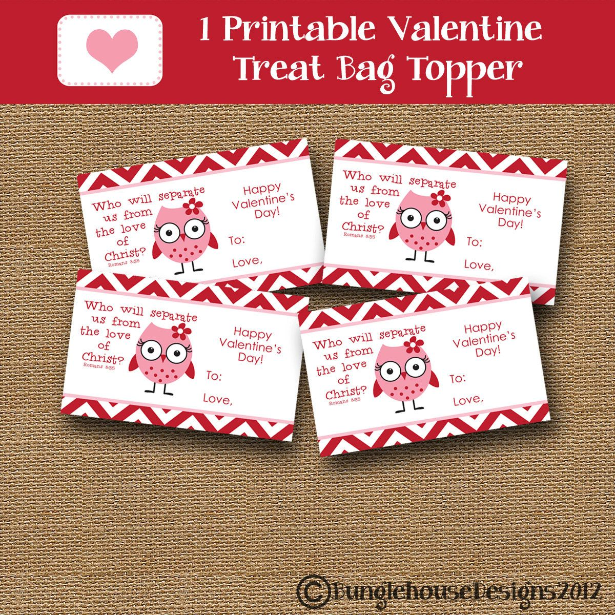 owl valentine treat bag topper for kids treat label diy printable christian school classroom valentine for girls instant download - Bible Verse For Valentines Day