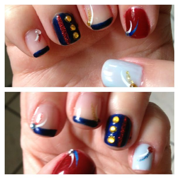 Just did my nails for the Fourth of July with usmc dedication for my ...