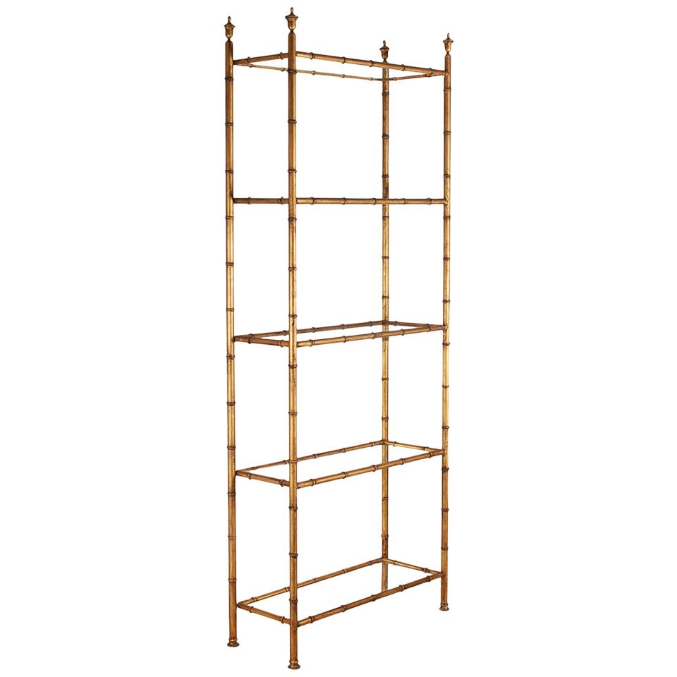 Hollywood Regency Gold Gilded Faux Bamboo Etagere | Faux bamboo ...