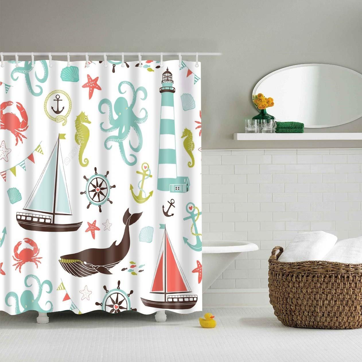 Ocean Themed Unisex Kids Shower Curtain Bathroom Decor Kids Shower Curtain Kid Bathroom Decor Bathroom Themes