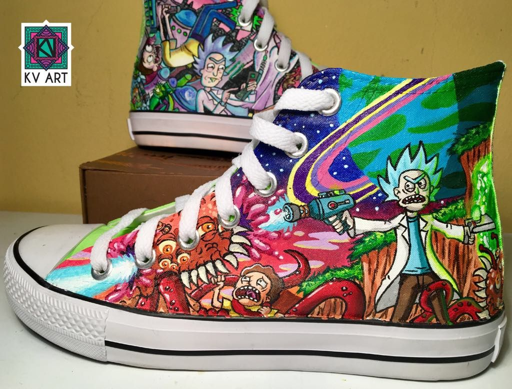 lowest price 3d3cd 6e1d0 Kv Art custom hand painted Rick and Morty hand Converse