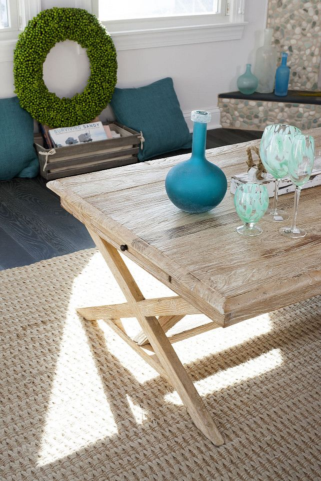 Beach House Decor Ideas Turquoise Seagrass Rug Whitewash Coffee Table Wide Plank