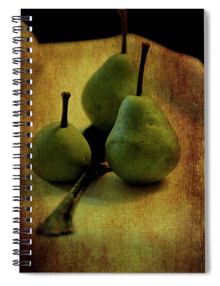 Pearfect Friendship Textured Three pears sit on a white tablecloth with an antique silver serving spoon creating a still life image with a textured overlay. Beautiful food or recipe journal for nutritional notes, shopping lists, menu planning or your favorite recipes. Cover art would be fantastic to use as a pastry or fruit precious journal. #notebook #spiralnotebooks #journal #journaling #recipejournal #food #fruit #giftideas #giftsforcooks #giftideasforchefs