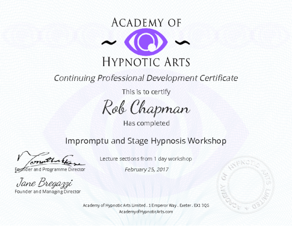 Jonathan's training is impromptu yet structured and introduces hypnosis used by the Stage and Street hypnotist in a fast and fun fashion.
