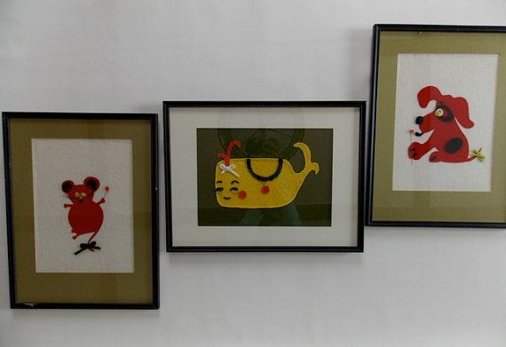 Childrens Animal Wall Hangings Pictures Art by GreenDigsVintage, $60.00