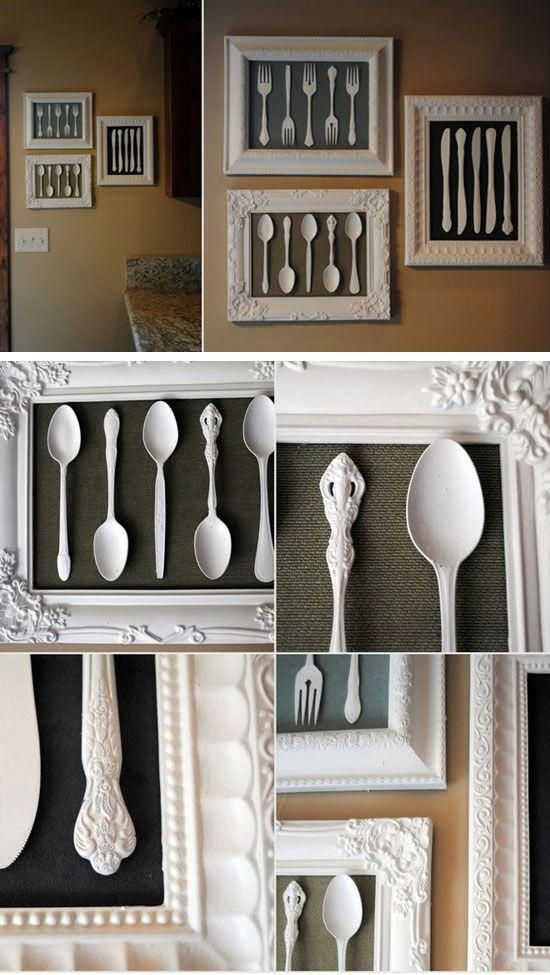 Wall art made from recycled cutlery diy home decorating on  budget projects also best decor ideas images pinterest in rh