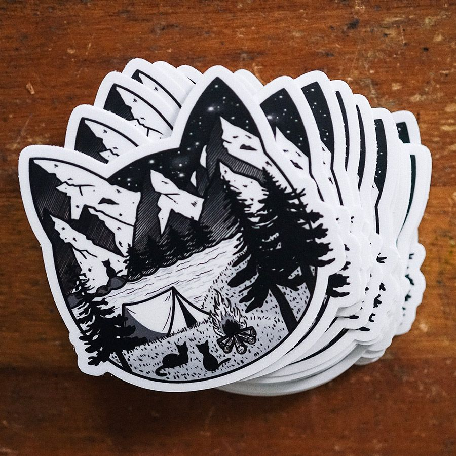 """Camping Cat"" sticker designed by the artist HEYEMILYDEE"