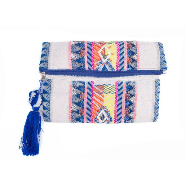 Blue radiance clutch (110 CAD) ❤ liked on Polyvore featuring bags, handbags, clutches, blue clutches, white purse, blue handbags, white handbags and blue purse