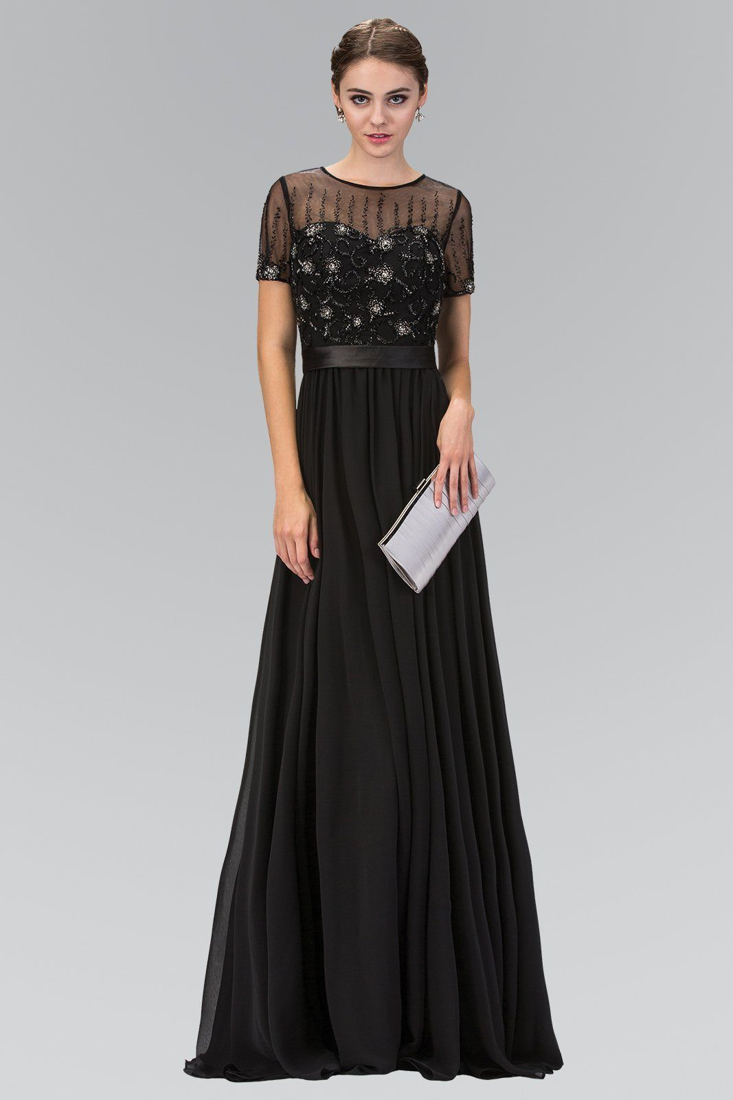 Long sleeve black evening gown gls 2042 | Evening gowns ...