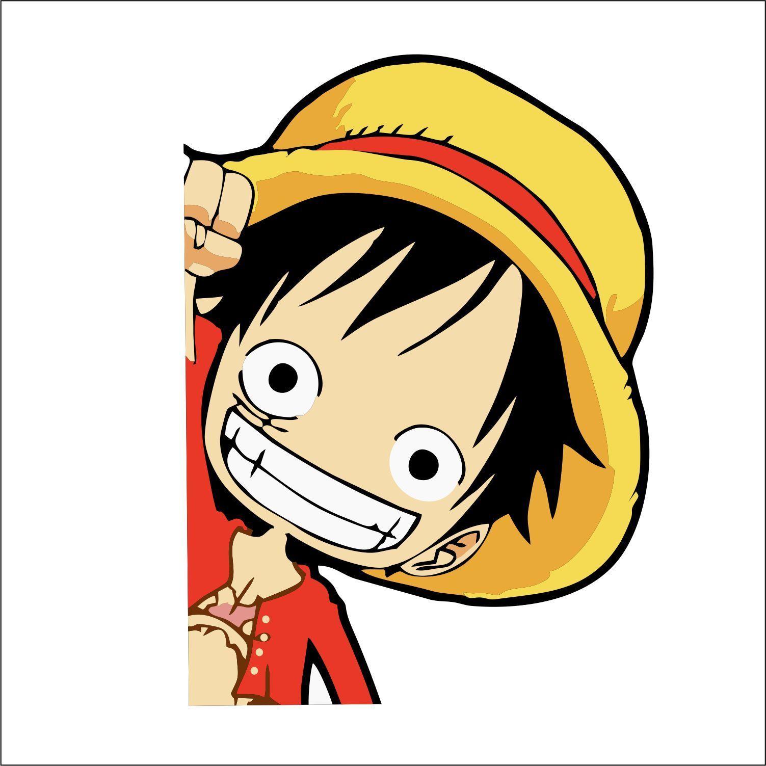 Monkey D Luffy Side Peeker Peeking Window Vinyl Decal Sticker One Piece Anime Vinyl Decals Monkey D Luffy Vinyl Decal Stickers
