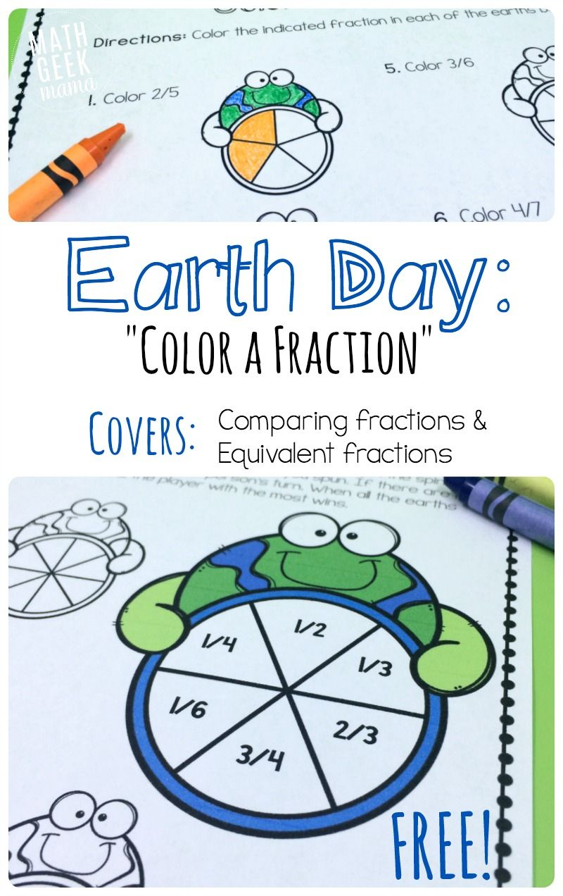 Earth Day Fraction Math Pack Earth Day Worksheets Math Fractions Education Math [ 1272 x 800 Pixel ]