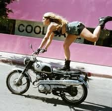 Naked woman on a motorcycle