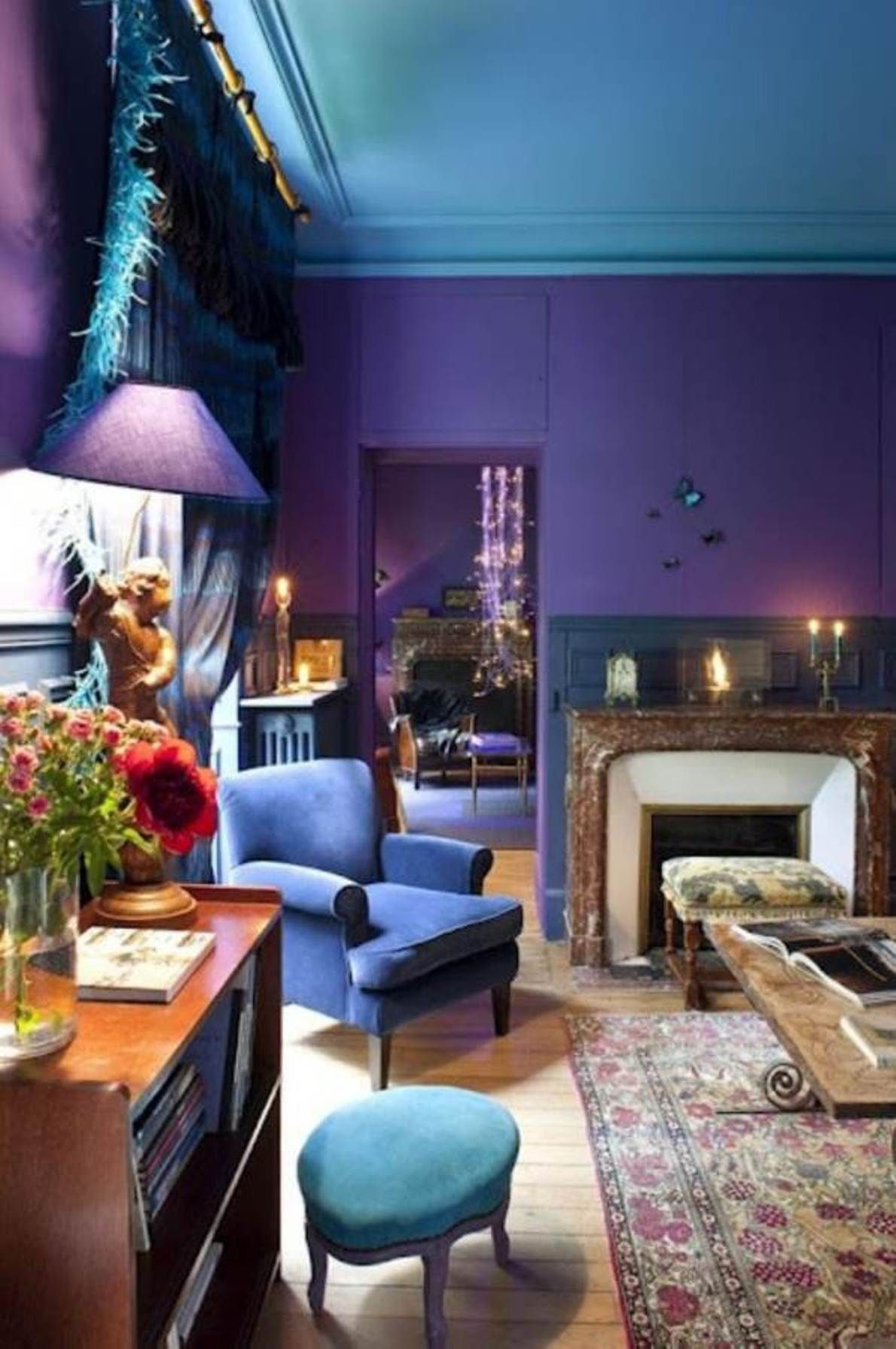 Amazing Bedroom Awesome Wall Color Combination In Bedroom: Bold Color Combinations  For Living Rooms With Purple Color Scheme Also Vintage White Fireplace  Design ... Part 17
