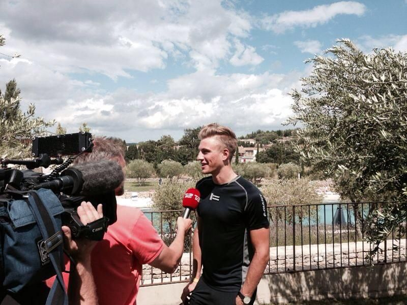 GiantShimano: Scenic backdrop for media duties for Marcel Kittel on the 2nd rest day of the #TDF