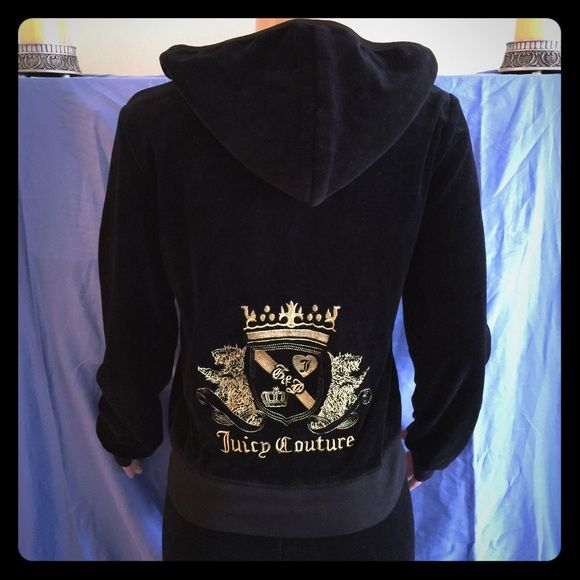 """Juicy Embroidered Black Hoodie Beautiful black velour hoodie with intricate gold embroidery with two dogs and shield.  Runs small, mannequin is a size 6 approximately.  19"""" armpit to armpit, 18.5"""" across waistband, 20"""" arm inseam.  Matching pants available. Juicy Couture Tops Sweatshirts & Hoodies"""