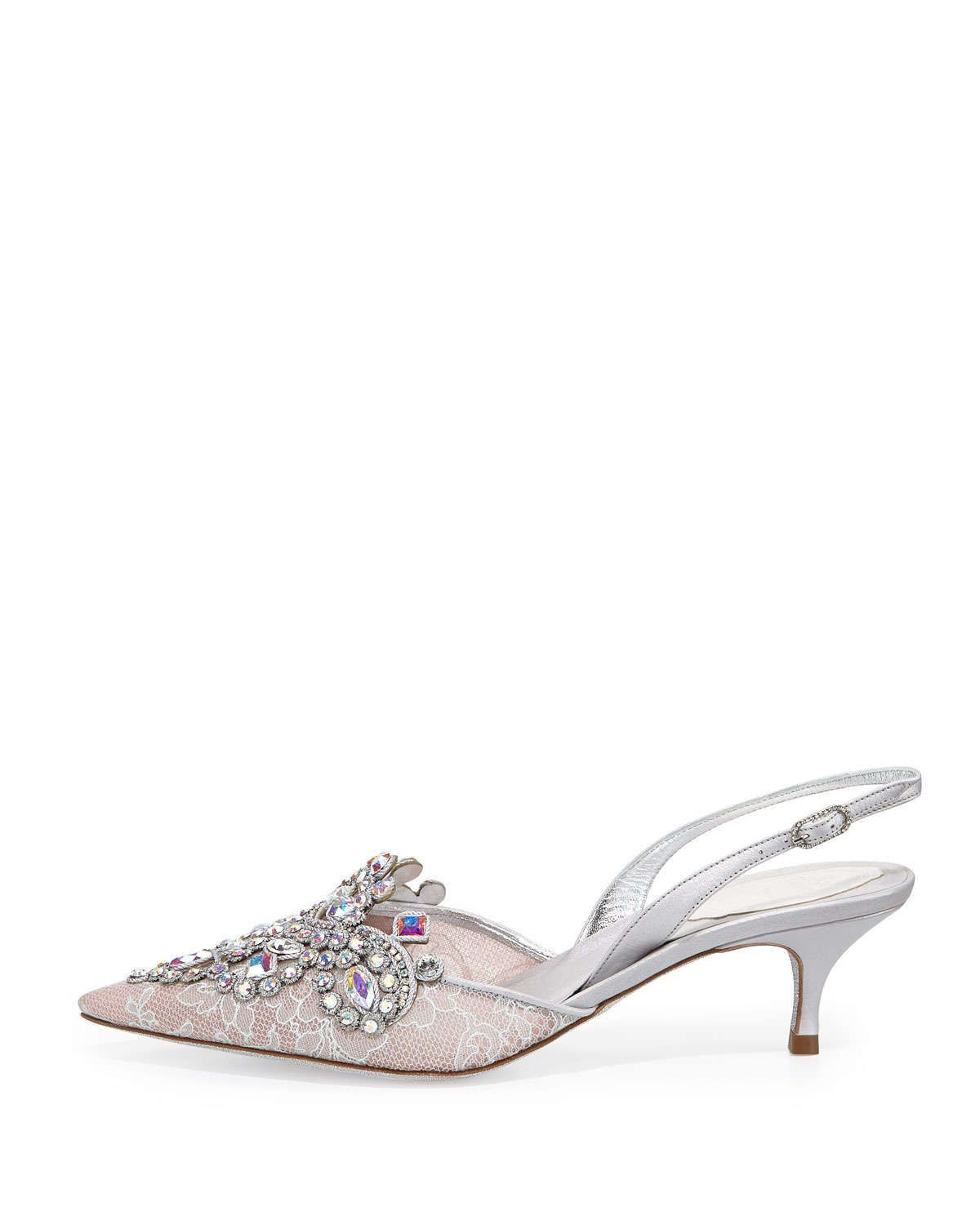 Jeweled Lace Halter Pump, Silver