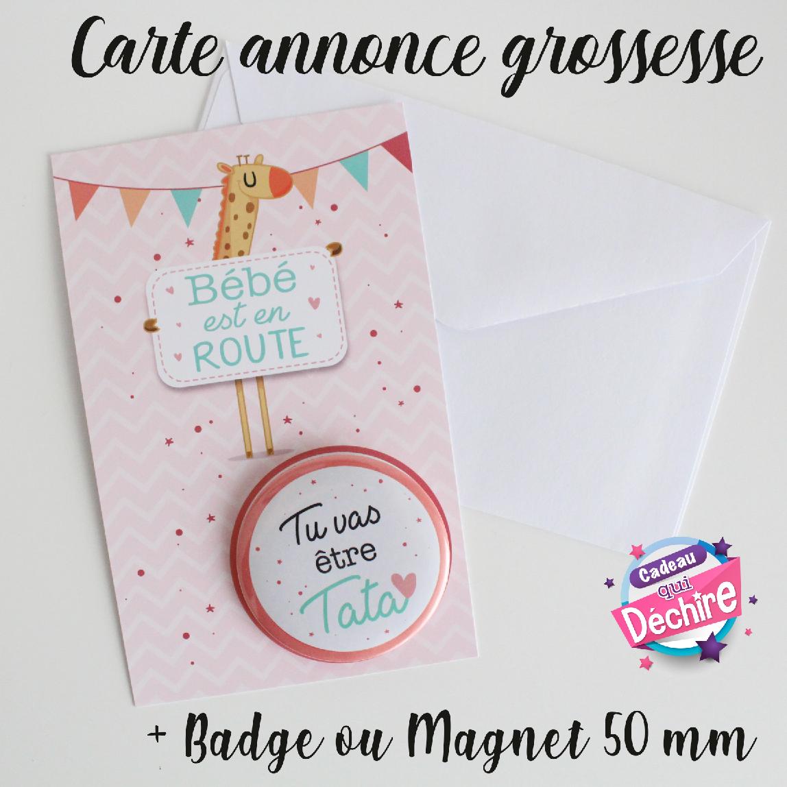 Carte annonce grossesse – Badge bientôt bébé – Magnet bientôt bébé – idées de cadeaux annonce bébé – badge ou magnet personnalisable