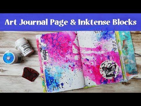 ArtJournal with Me using Inktense Blocks and Rubber Dance Stamps - YouTube #artjournalmixedmediainspiration