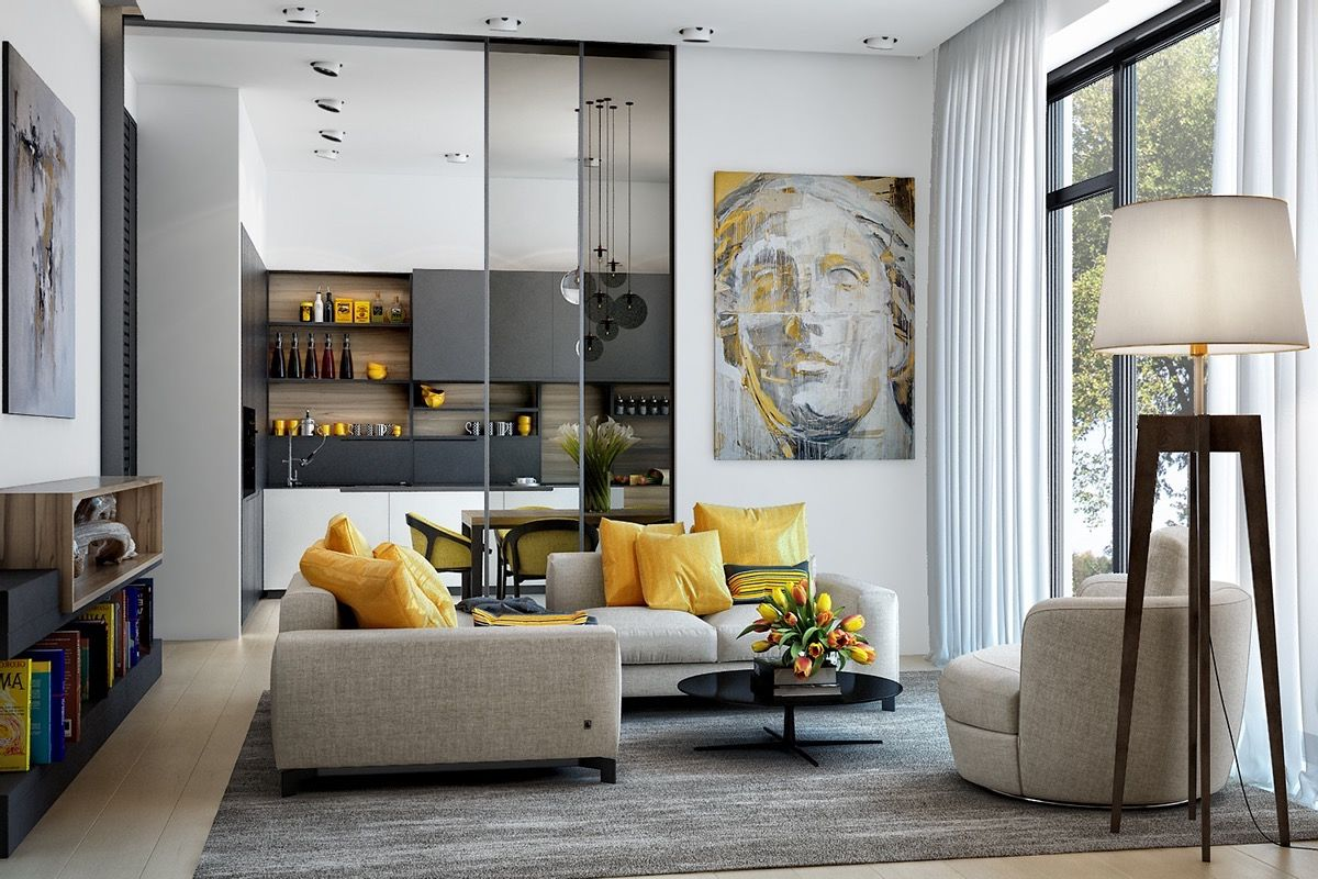 Gorgeous Living Room Design With Yellow Accents Part 73