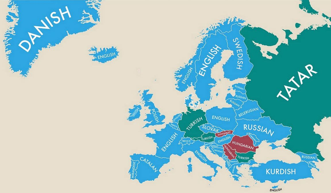 Second Most Spoken Languages In Europe Language - Native language world map