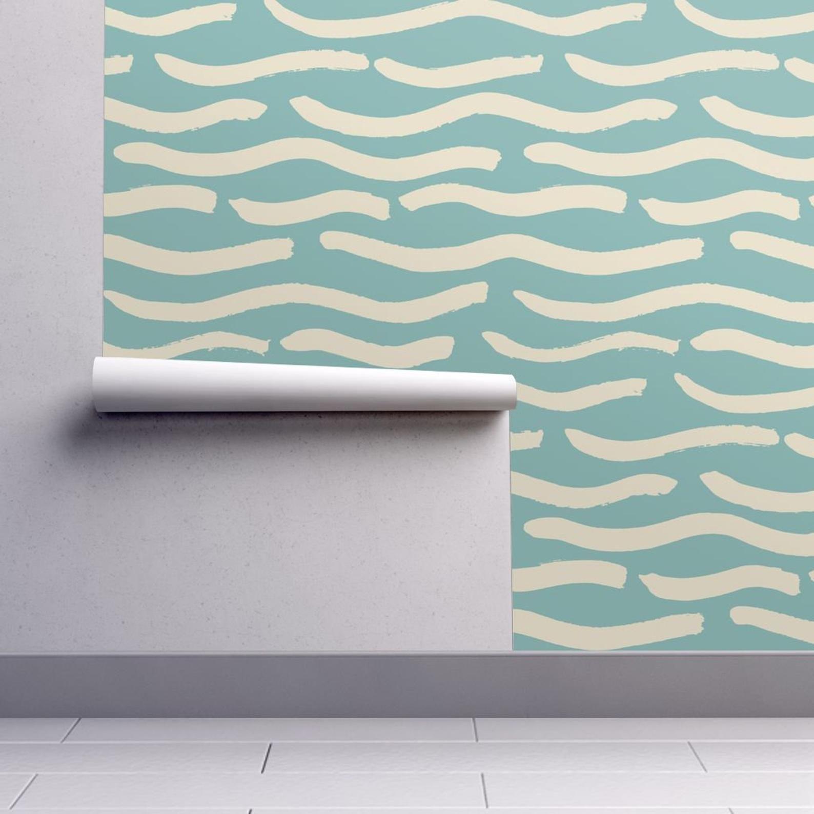 Aquamarine Wallpaper Waves On Aquamarine By Juliaschumacher Etsy Self Adhesive Wallpaper Wallpaper Spoonflower Wallpaper