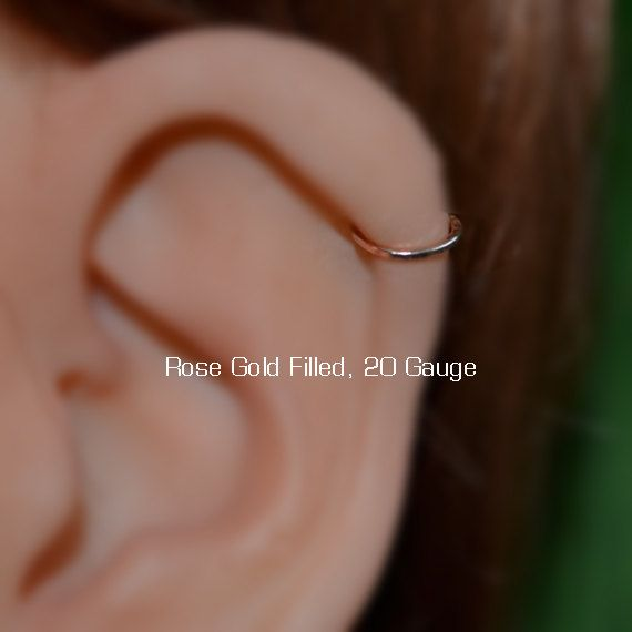 Nose Ring 20g Gold Hoop Tragus Forward Helix Earring Cartilage Rook Jewelry Daith Conch