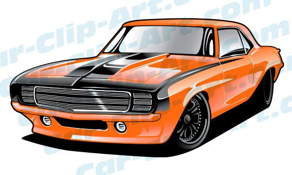 4ad2d871 This bright orange Pro Touring 69 Camaro clip art art would be perfect for  a t-shirt design for a modern performance shop or an engine builder.