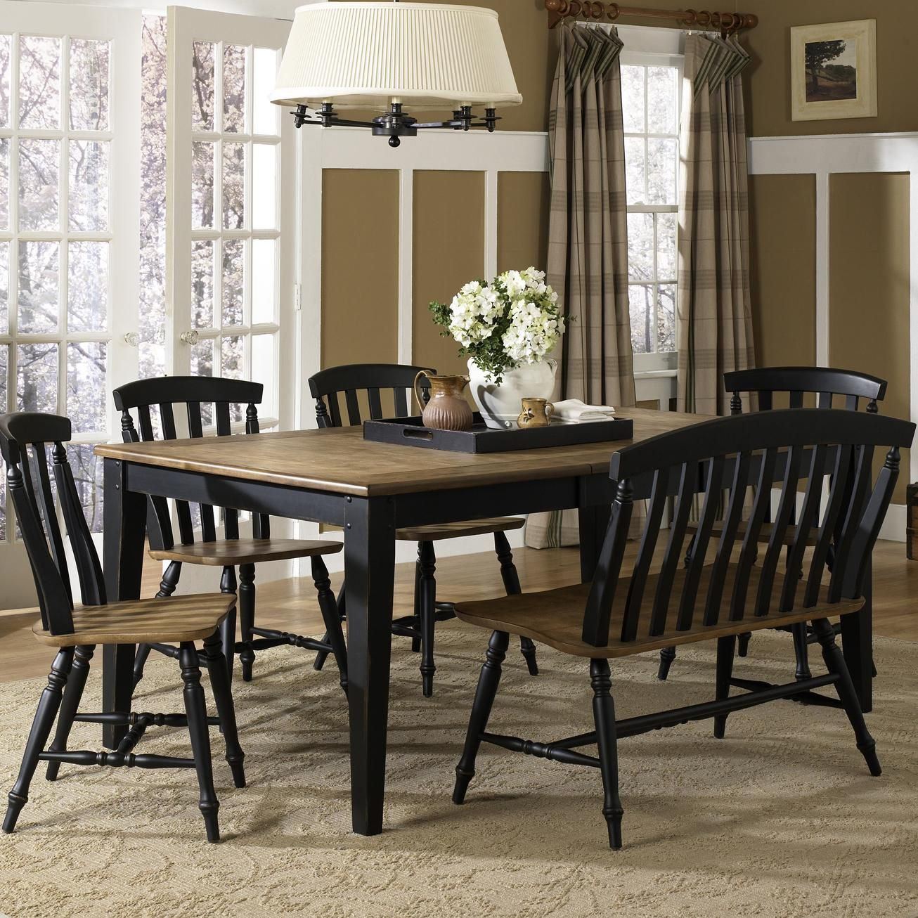 Seaside Black 6 Piece Dining Table Set With Chairs And