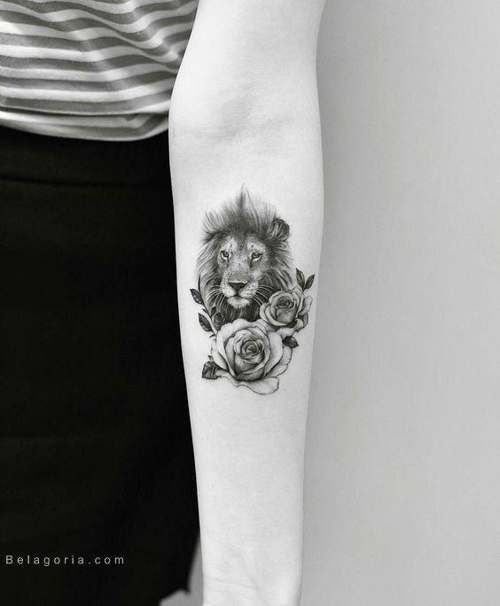 Imagen De Un Tatuaje De León Para Mujer Tatuajes Pinterest