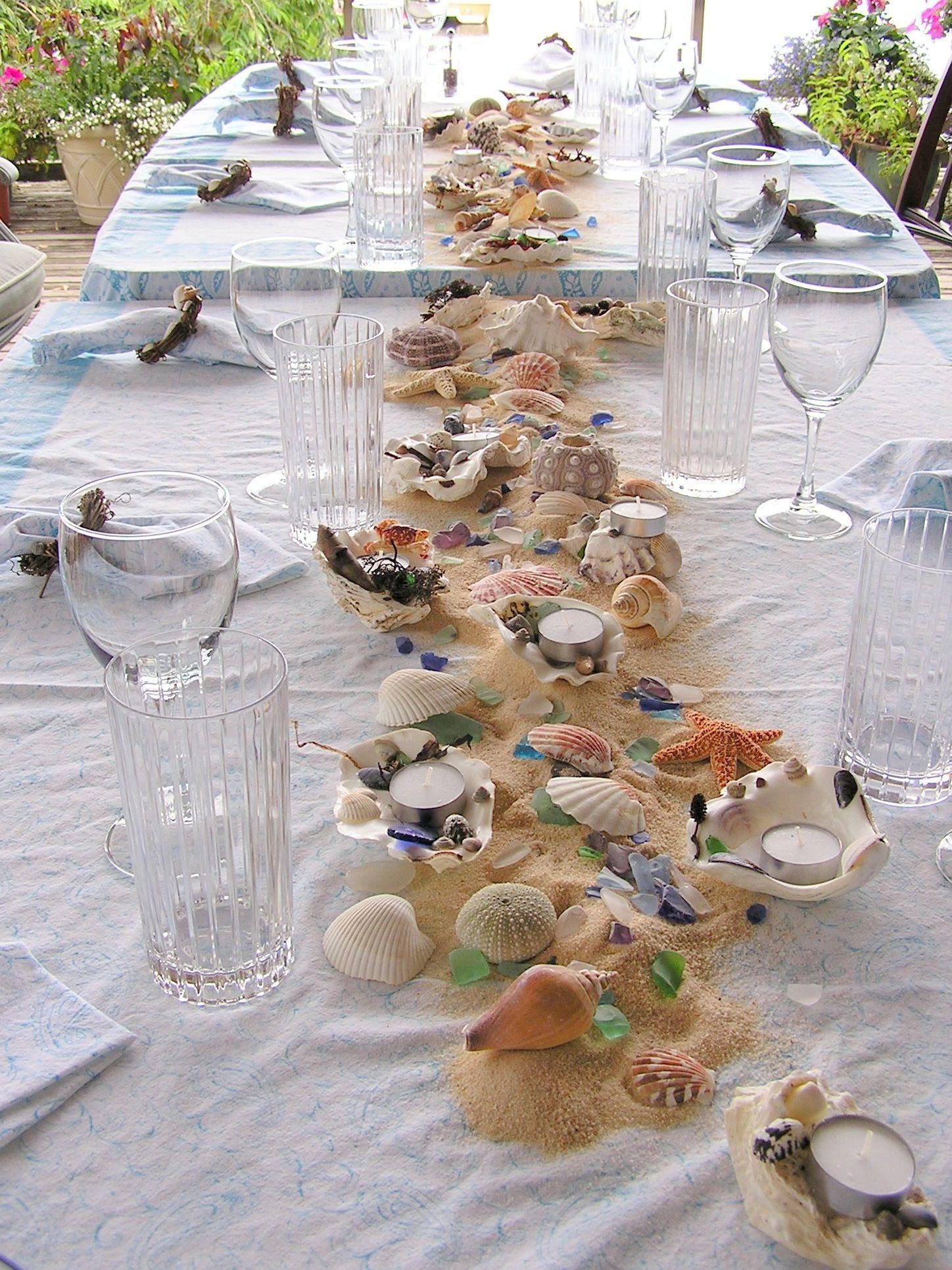 Good Beach Combing Tablescape L Beach Party Ideas L Www.CarolinaDesigns.com