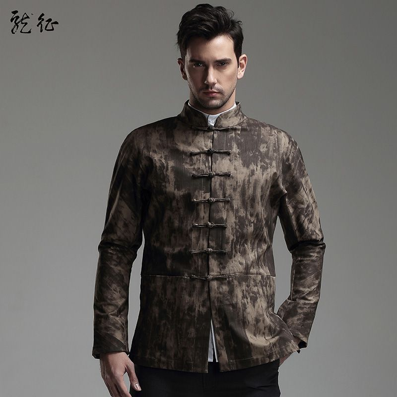 0cfe184dc Tang Style Frog Button Jacket - Brown - Chinese Jackets - Men ...