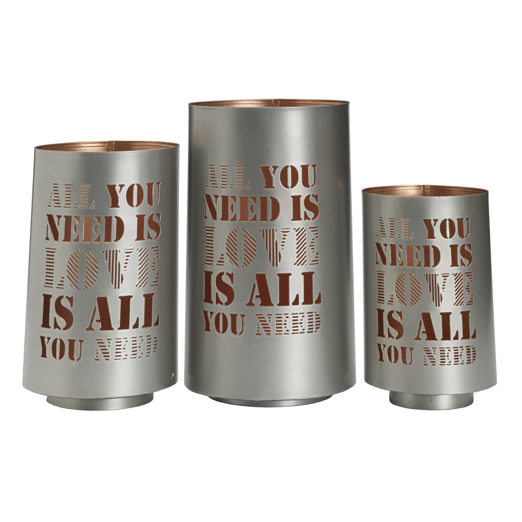 3 Piece 'All You Need Is Love' Metal Luminary Set