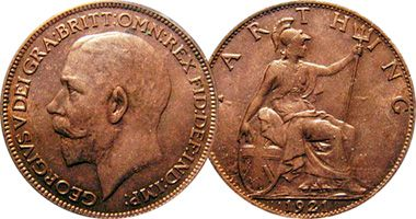 Great Britain Farthing, Half Penny, and Penny 1911 to 1936