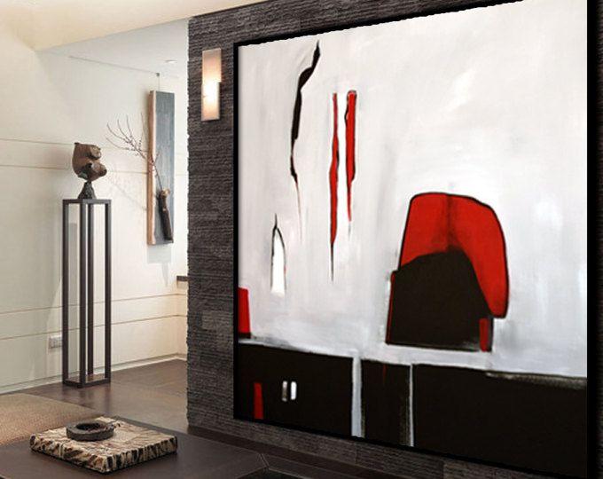 original gro e abstrakte kunst malerei auf leinwand schwarz grau rot wandkunst gro e acryl. Black Bedroom Furniture Sets. Home Design Ideas
