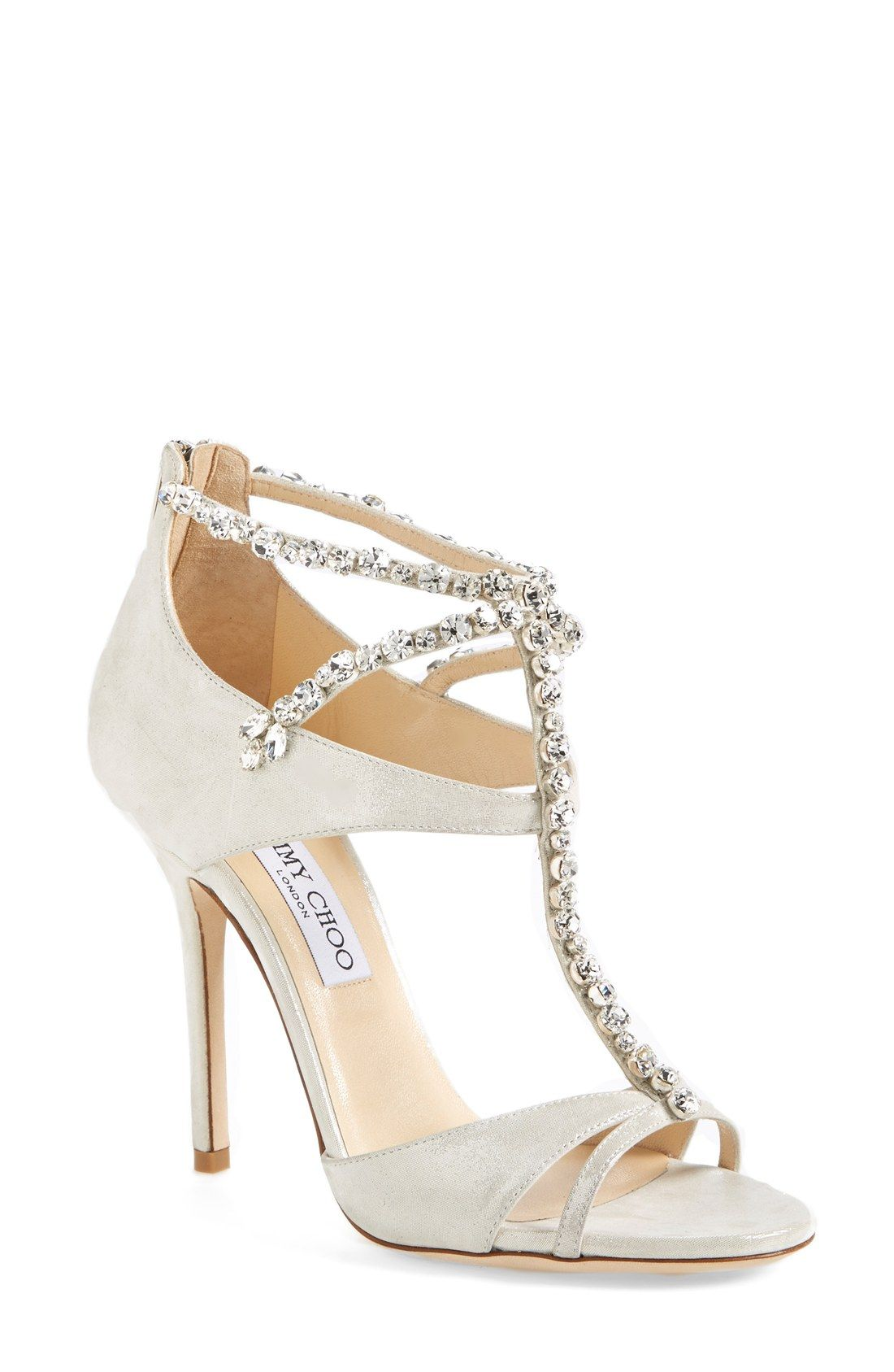 d2bdb504ab30 Gorgeous Jimmy Choo crystal sandal. The perfect wedding shoes!