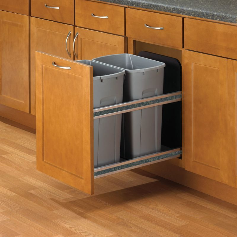 Hafele 503 11 527 Kv 19 Tall 35 Quart Double Pull Out Waste Bins With Soft Clos Frosted Nickel Trash Cans 2 Bin