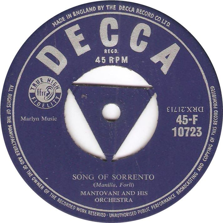 Decca 45-F 10723 Mantovani And His Orchestra Song Of Sorrento
