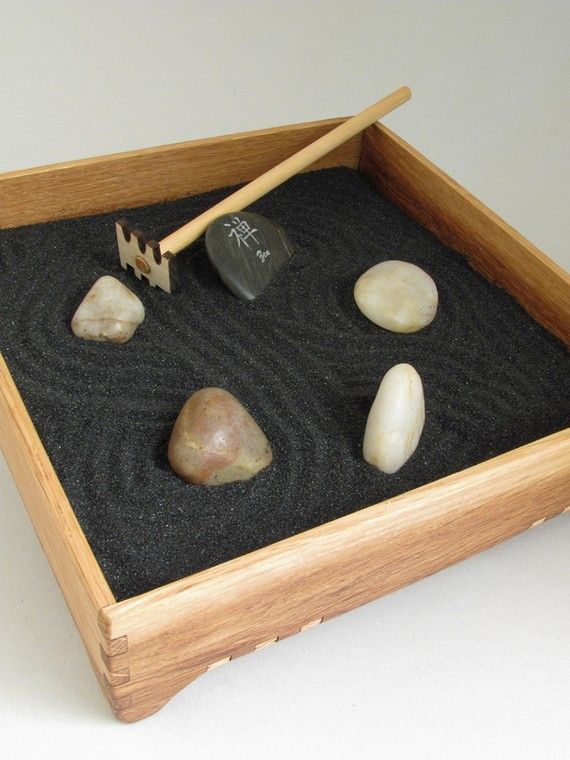 Mini Zen Garden Karesansui With Black Sand By Timbergreenwoods 44 00 Mini Zen Garden Desk Zen Garden Miniature Zen Garden