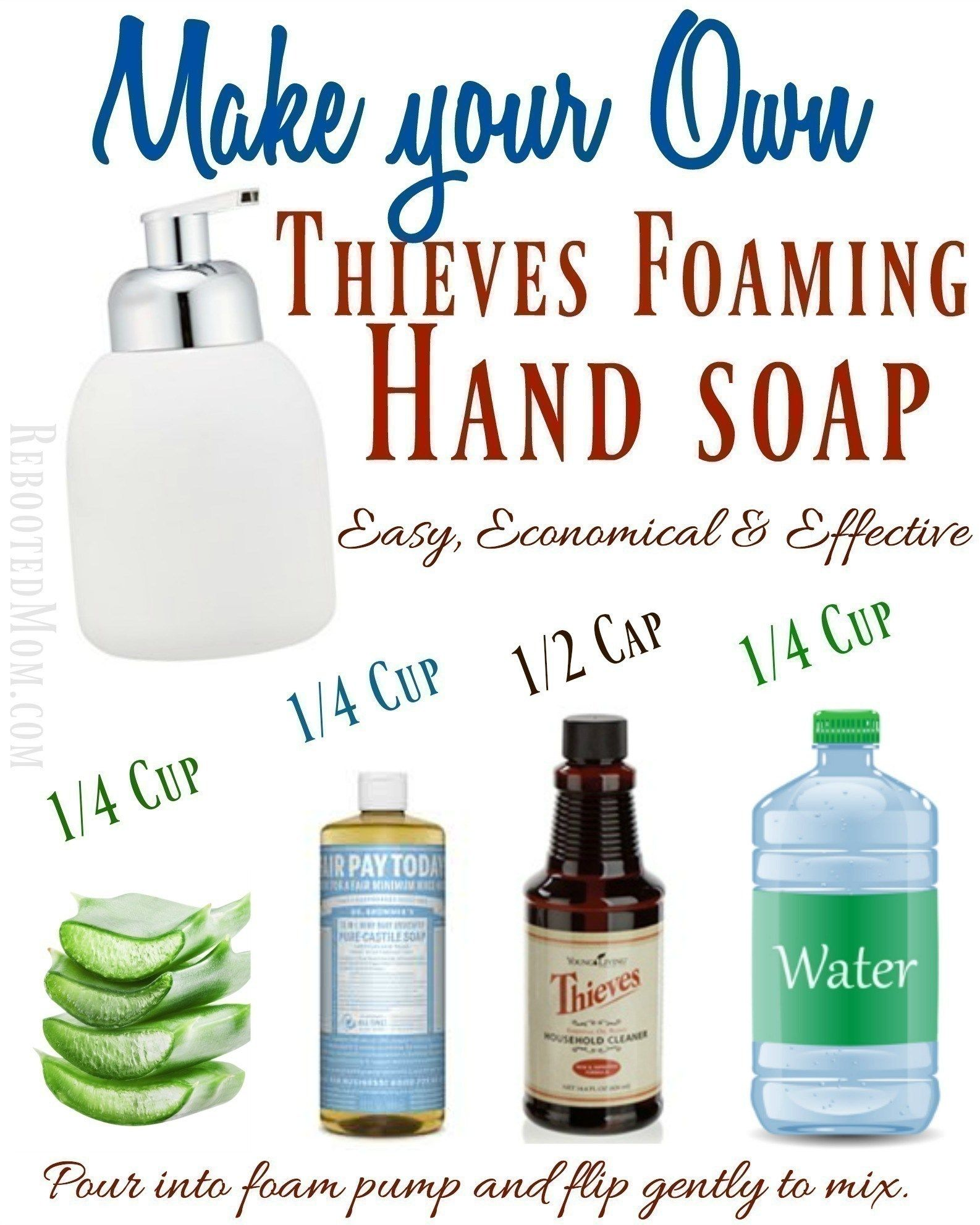 Make your Own Thieves Foaming Hand Soap Hand wash and