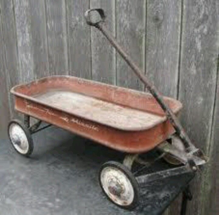 Little Red Wooden Toy Wagon with Vintage Graphics