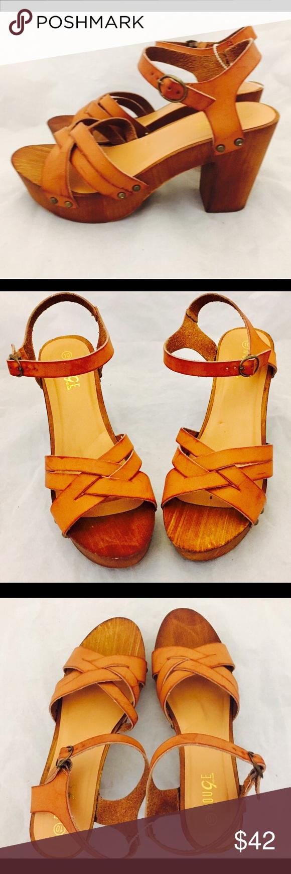 SOLD Platform Clogs Sandals Leather Wood Heels 9.5