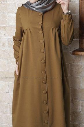 Koyu Hardal Elbise 044 1046 Allday Islami Giyim Elbise Moda