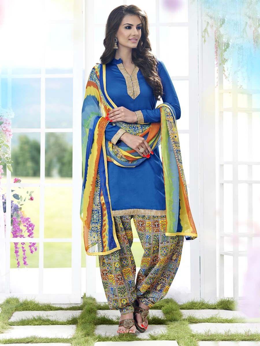 Glamorous sky blue color cotton kameez. Item Code : SLANA9015 http://www.bharatplaza.com/new-arrivals/salwar-kameez.html