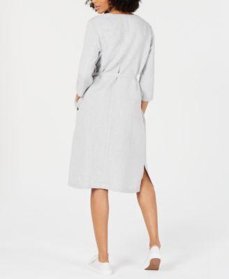 Eileen Fisher Belted Shirtdress Tan Beige M Organic Linens Macys Fashion Shirt Dress