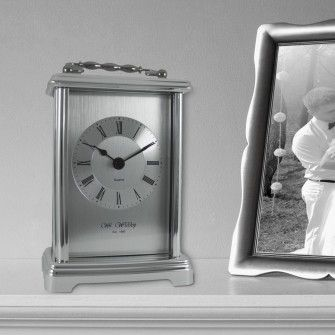 Personalised Silver Finish Carriage Clock