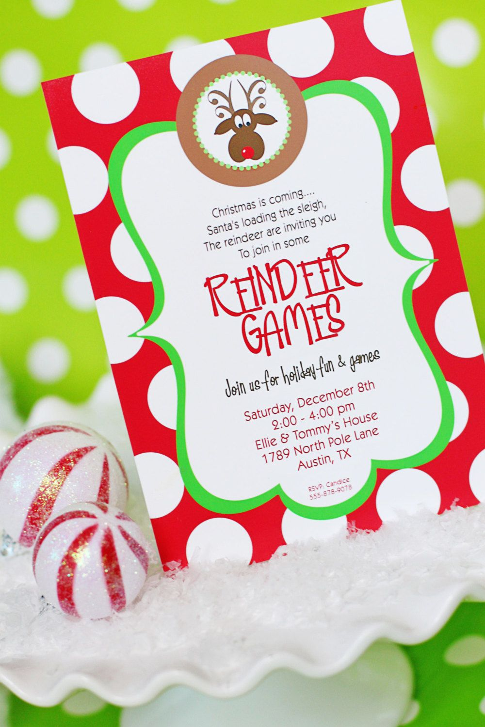 Reindeer Games INVITATION Printable Christmas Party