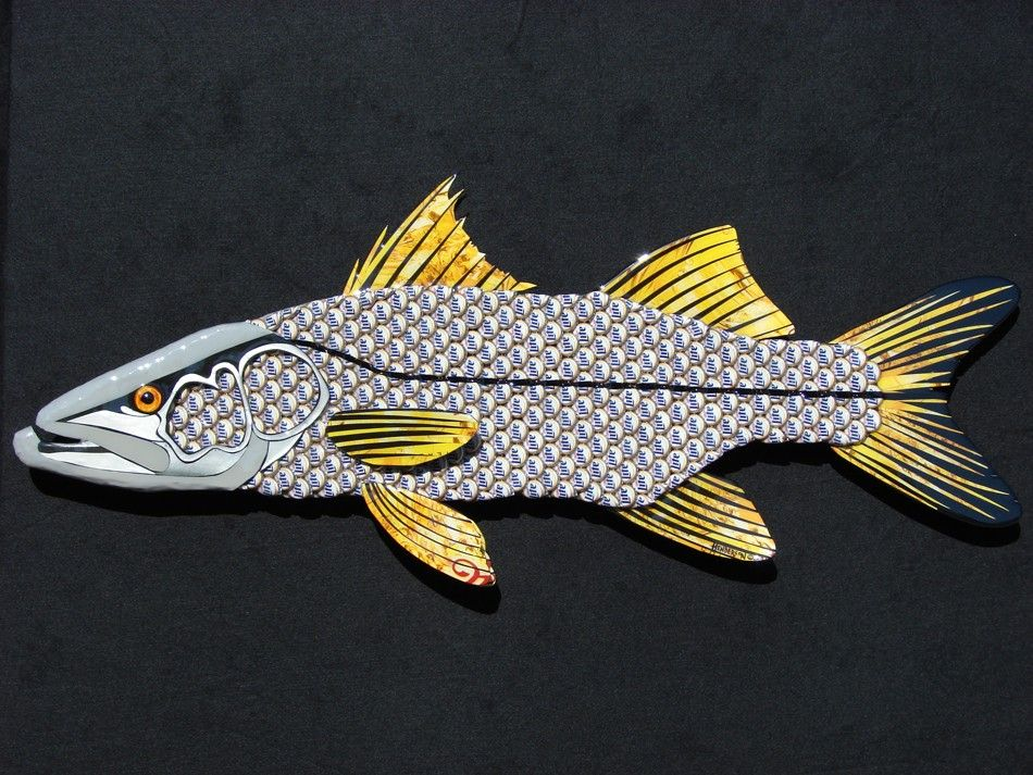 Snook fish metal wall art miller light bottle cap art for Fish metal wall art
